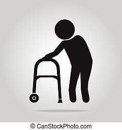 Elderly man and walker symbol illustration - Elderly man and...