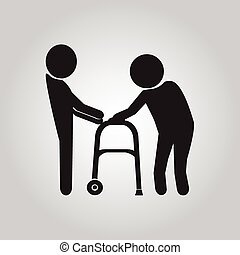 Man helps elderly patient sign - Man helps elderly patient...