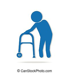 Elderly man and walker symbol, icon vector illustration