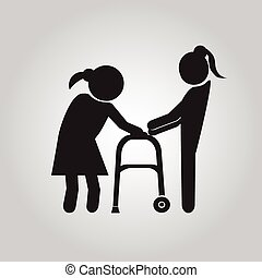 Woman helps elderly patient with a walker illustration