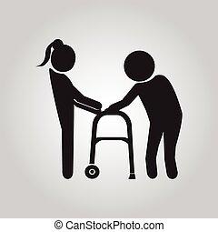 Woman helps elderly patient sign - Woman helps elderly...