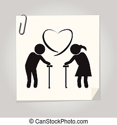 Elderly couple symbol old people couple illustration -...