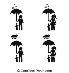 Person holding umbrella and child set vector illustration