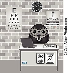Optician consulting room - Comical bird Optician consulting...