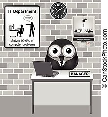 IT Manager - Comical bird IT manager with reboot sign