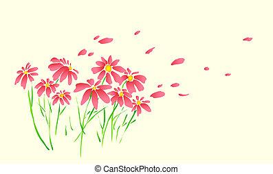 wild flower - drawing of beautiful flower in a beige...
