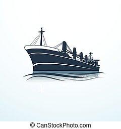 cargo ship -  silhouettes of the sea cargo ship