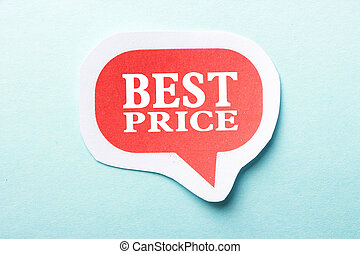 Best Price speech bubble is isolated on the blue background.