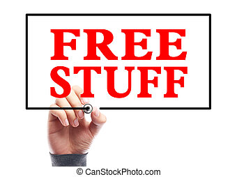 Free Stuff - Hand with marker is writing the concept of Free...