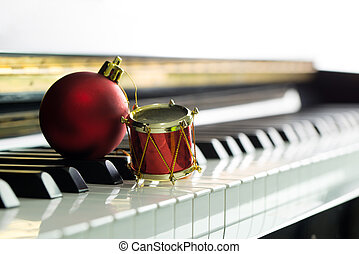 Christmas melody - Christmas music illustrated with red...