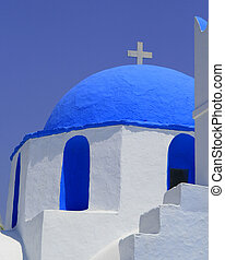 Greek Church - A stunning whitewashed church with blue domed...
