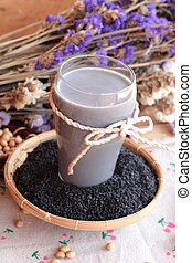 Soy milk mix black sesame with soybean seed and black sesame...