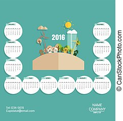 2016 calendar, Modern business card template with nature...