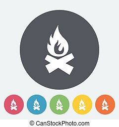 Bonfire. Single flat icon on the circle. Vector...