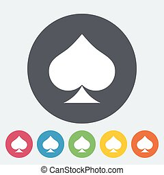 Card suit - Spades. Single flat icon on the circle button....