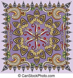 bandanna with colorful paisley on a purple background is decorated with swirls