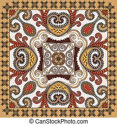 colorful bandanna,  decorated paisley and swirls with black festoons on a light background