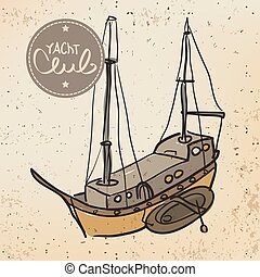 Background Yacht logo Yacht Club in vintage style