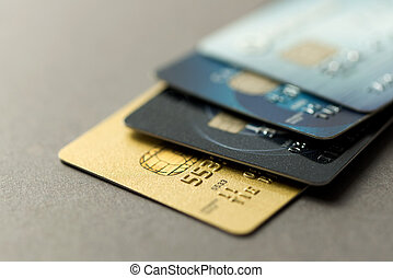 Credit cards - Close up of credit cards over grey background