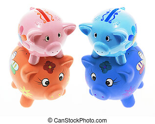Piggy Banks - Small Piggy Banks on White Background