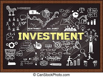 investment - Hand drawn INVESTMENT on chalkboard.