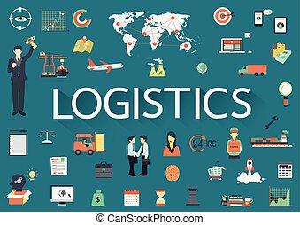 logistics - Word LOGISTICS with big set of involved flat...