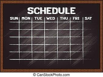 Schedule on chalkboard