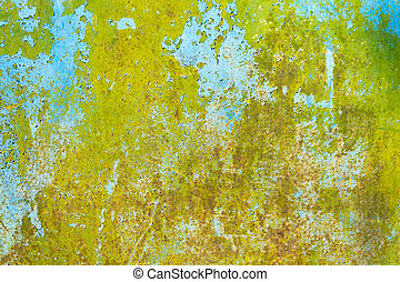 Rusty painted green metal texture with cracked paint.