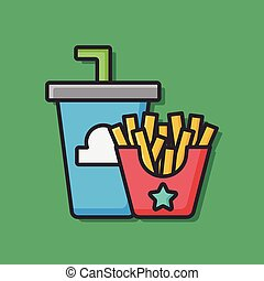 french fries and soda icon