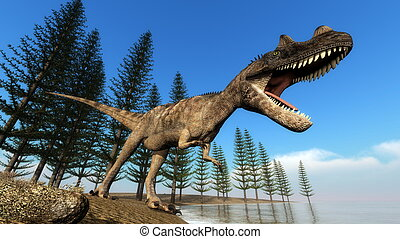 Ceratosaurus dinosaur at the shoreline - 3D render -...