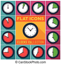Set of clocks with 10 minutes interval - Set of flat clocks...