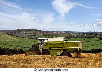 Combine Harvester. - A Combine Harvester Working in a Field...