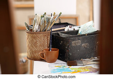Paint and painting accessories - Colorful paint, a...
