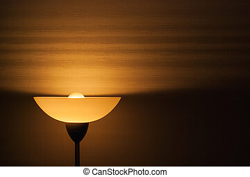Lampshade on wallpaper - Lampshade and light from the lamp...