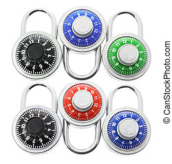 Combination Locks - combination Locks on Isolated White...
