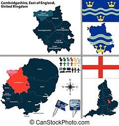Cambridgeshire, East of England, UK - Vector map of...
