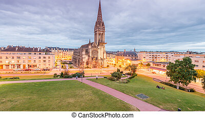 Caen, France. Aerial city view.