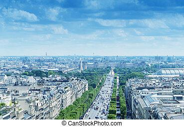 Avenue de Champs Elysees, aerial view of Paris
