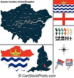 Greater London, UK - Vector map of Greater London in United...