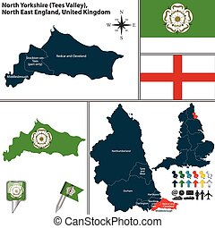 North Yorkshire, North East England, UK - Vector map of...