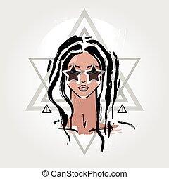 Woman Portrait, fashion illustration - Beautiful Woman...