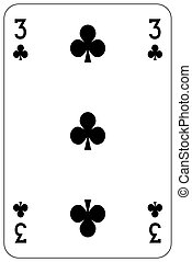 Poker playing card 3 club