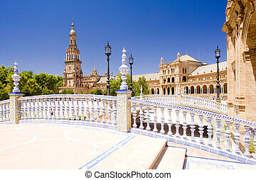 Spanish Square (Plaza de Espana), Seville, Andalusia, Spain