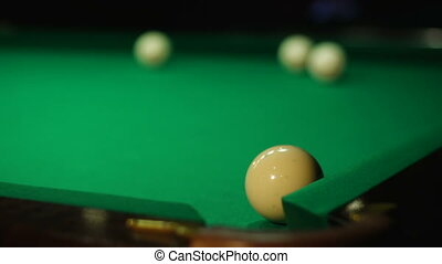 The white ball is not hit in the pocket - Russian billiards,...