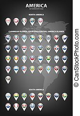 Map markers with flags - America. Original colors.