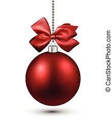 Red christmas bauble with bow.