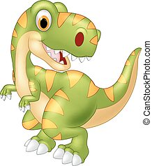 Cartoon dinosaur posing - Vector illustration of Cartoon...