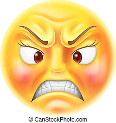 Angry Emoticon Emoji - Angry or furious looking red faced...