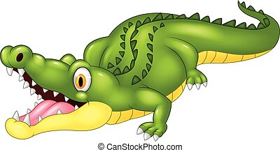 Cartoon crocodile happy