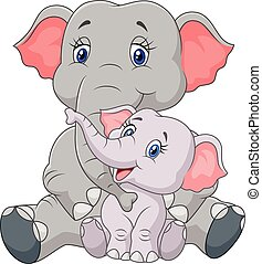Cartoon mother and baby elephant - Vector illustration of...